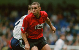 English footballer Vinnie Jones playing for Wimbledon against Tottenham Hotspur in an English Premier League match at White Hart Lane, London, 30th September 1995