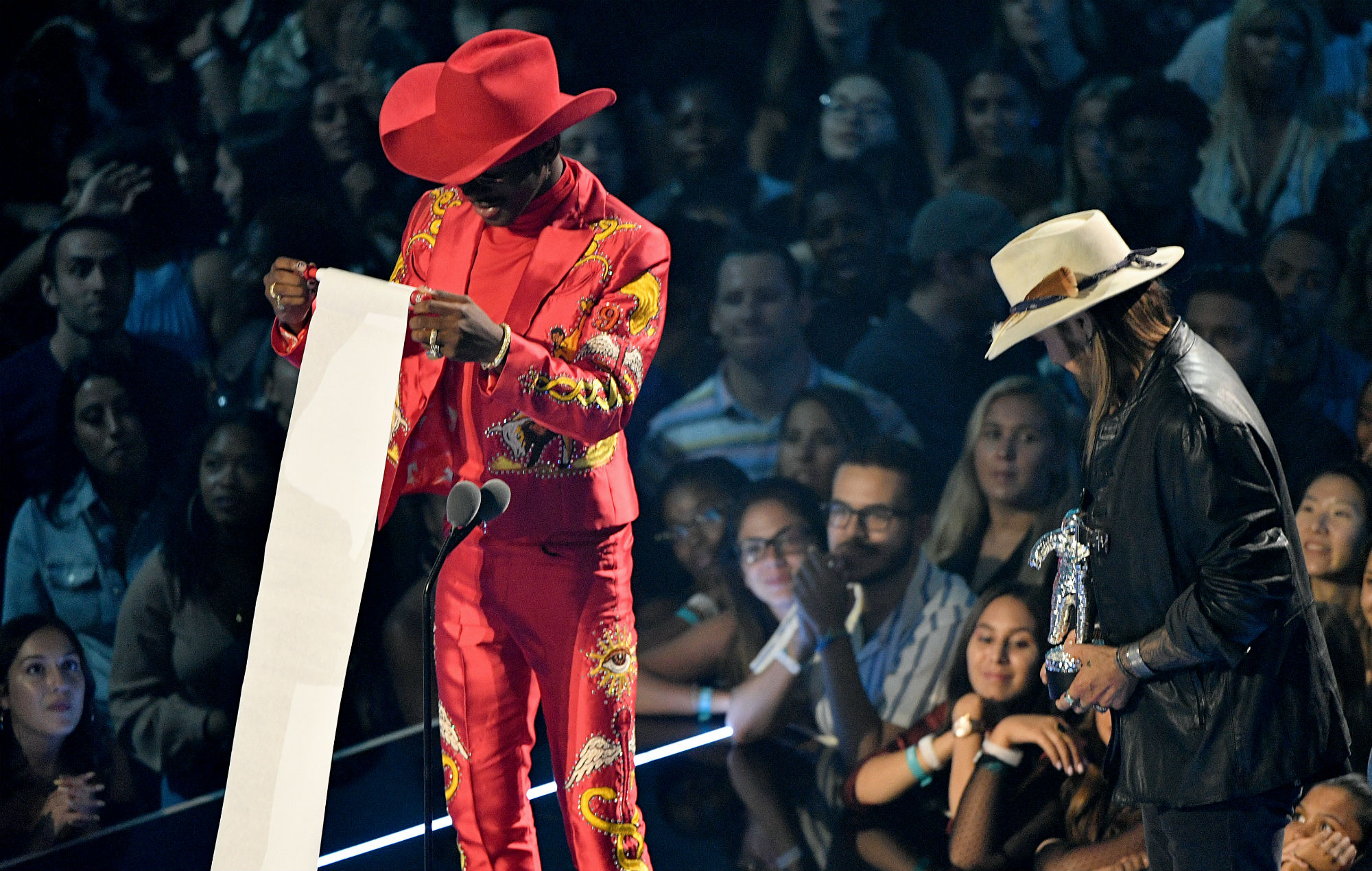 Lil Nas X reads out his acceptance speech for winning Song of the Year at the MTV VMAs 2019