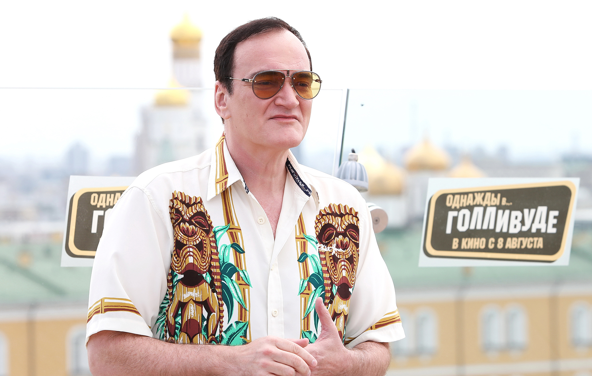 Quentin Tarantino Once Upon a Time in Hollywood press call in Moscow