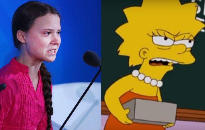 Greta Thunberg and Lisa from The Simpsons
