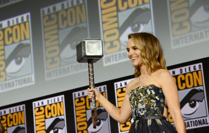 Natalie Portman speaks at the Marvel Studios Panel during 2019 Comic-Con International at San Diego Convention Centre