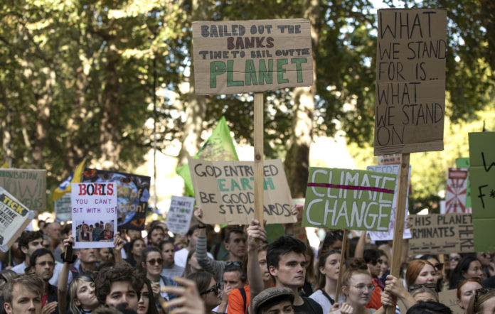 Protesters marched today in London as part of the Global Climate Strike