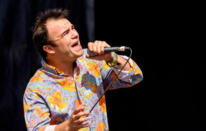 Samuel Herring of Future Islands playing Glastonbury Festival 2015