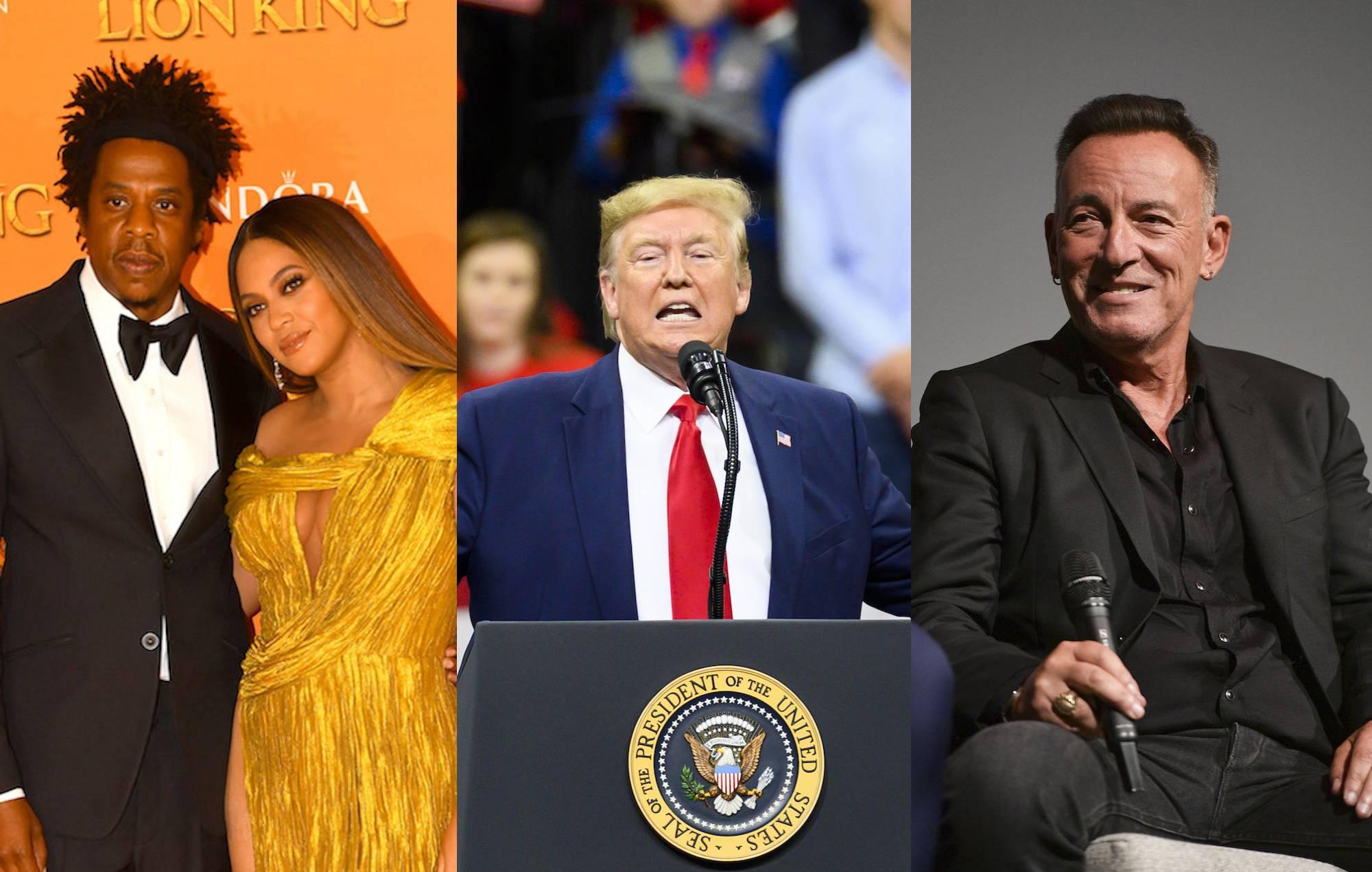 Jay-Z, Beyonce, President Donald Trump, Bruce Springsteen