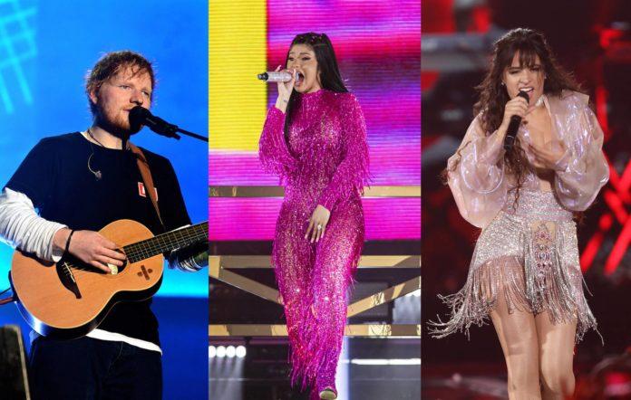 Ed Sheeran, Cardi B and Camila Cabello