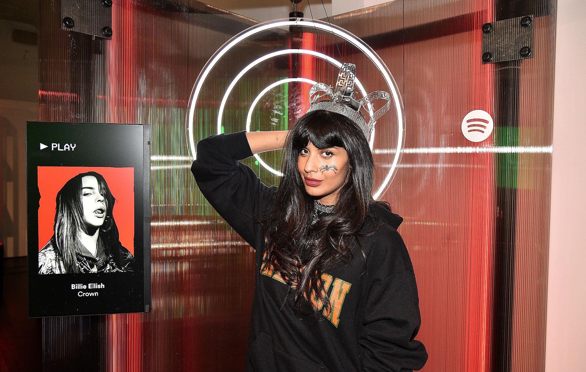 Jameela Jamil dressed as Billie Eilish for Halloween