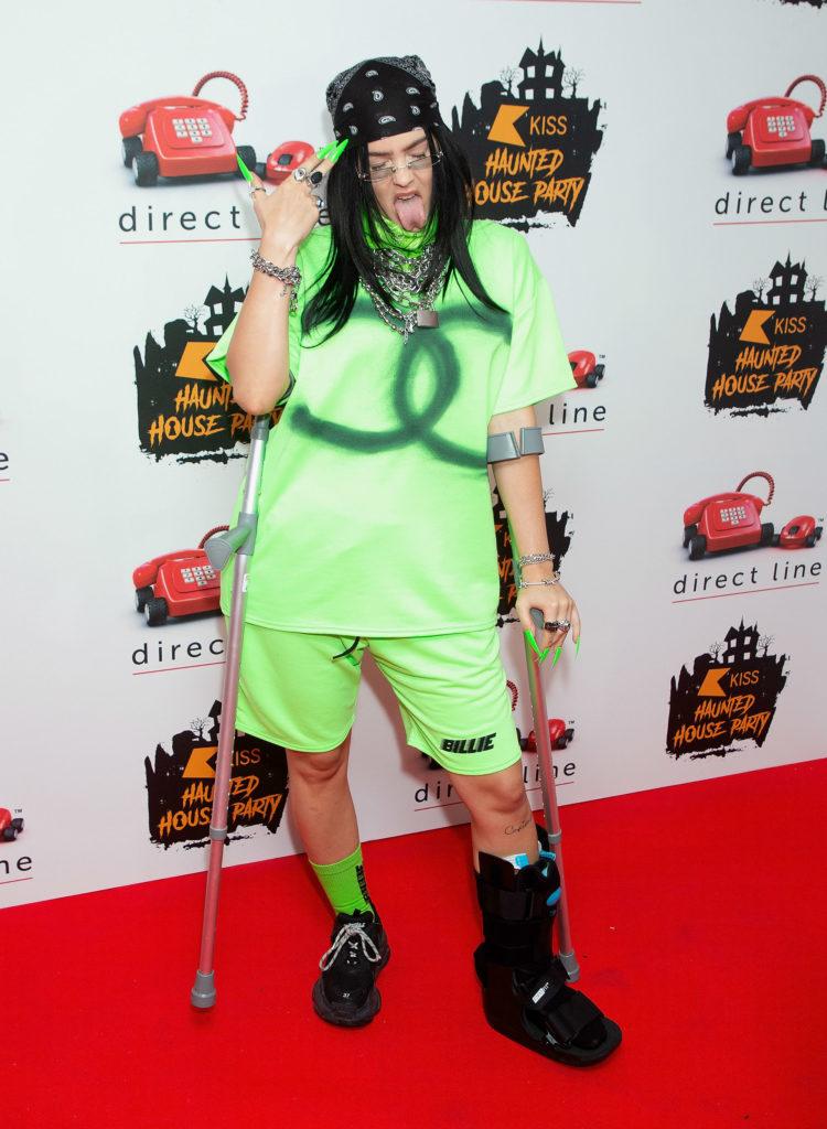 Anne-Marie dressed as Billie Eilish for Halloween