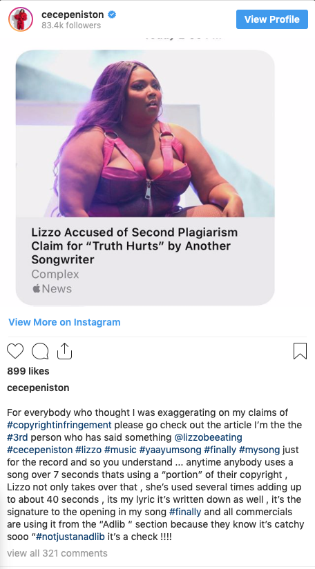 Cece Peniston accuses Lizzo of copyright infringement