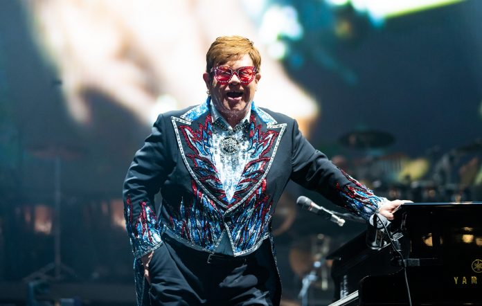 Sir Elton John performs on stage during his Farewell Yellow Brick Road Tour at Rod Laver Arena