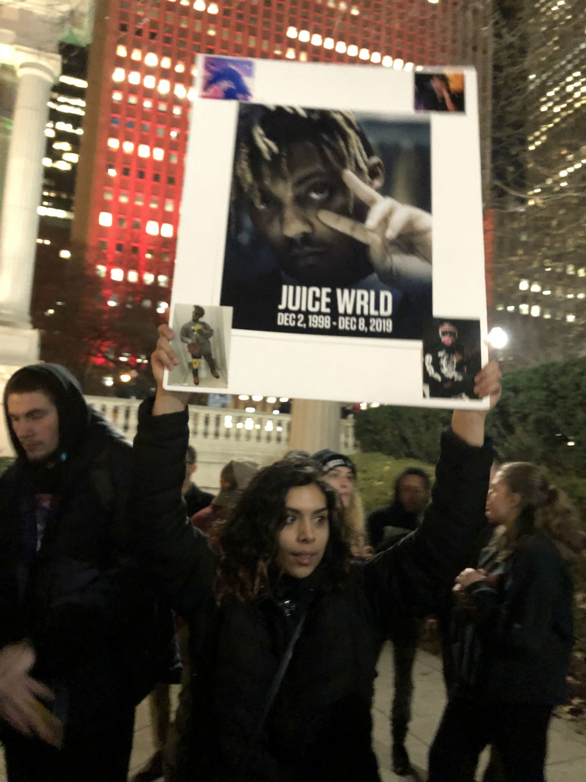 Fans gather on the streets of Chicago in honour of Juice WRLD.