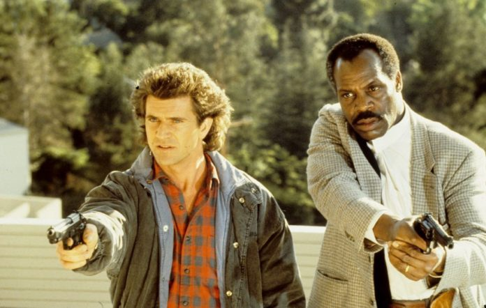 Mel Gibson and Danny Glover on the set of 'Lethal Weapon'