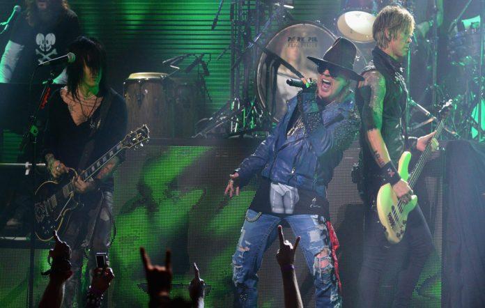 Guns N' Roses guitarist Richard Fortus, singer Axl Rose and bassist Duff McKagan