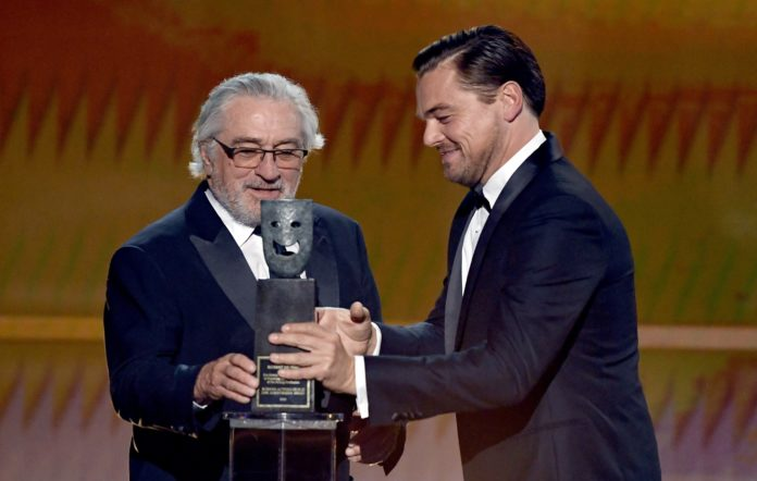 Robert De Niro accepts the Screen Actors Guild Life Achievement Award from Leonardo DiCaprio onstage during the 26th Annual Screen Actors Guild Awards