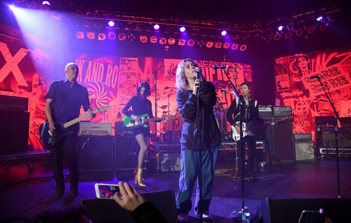 Violet Grohl, Dave Grohl, Beck, St. Vincent, Krist Novoselic and Pat Smear perform onstage during The Art of Elysium and We are Here Present Heaven is Rock and Roll at Hollywood Palladium on January 04, 2020 in Los Angeles, California. (Photo by Kevin Mazur/Getty Images for DG)