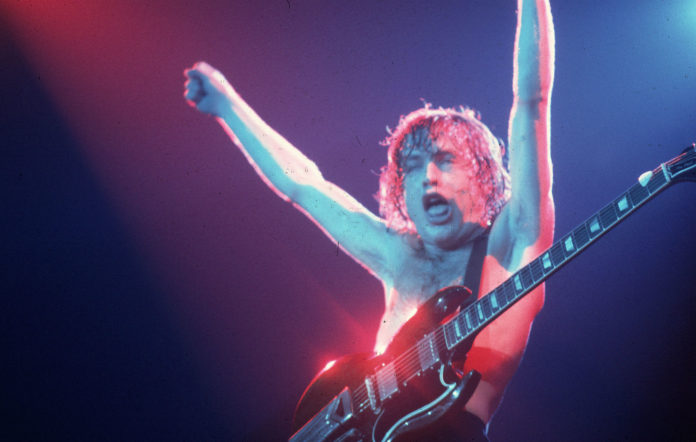 Angus Young of AC/DC in concert in 1981