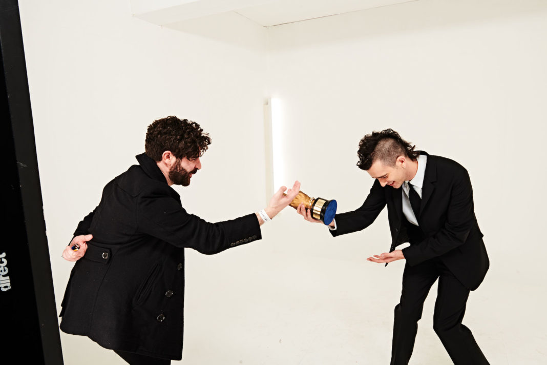 Foals' Yannis Philippakis and The 1975's Matty Healy at the NME Awards 2020