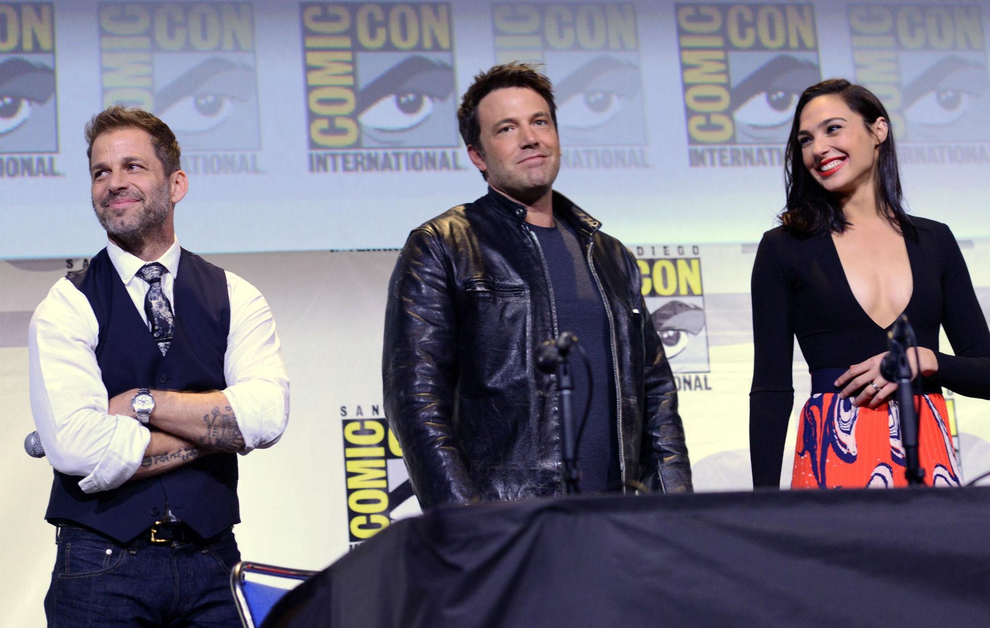 Zack Snyder, Ben Affleck and Gal Gadot