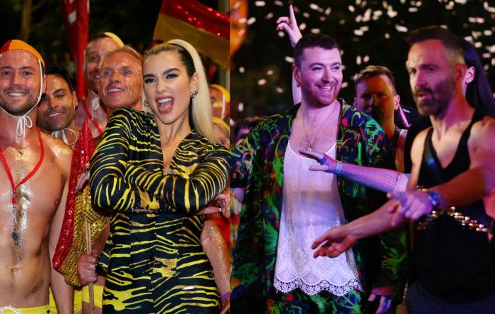 Image composite of Dua Lipa and Sam Smith at the 2020 Sydney Mardi Gras