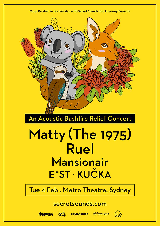 Matty Healy 1975 bushfire relief acoustic gig Ruel Mansionair EST Kucka