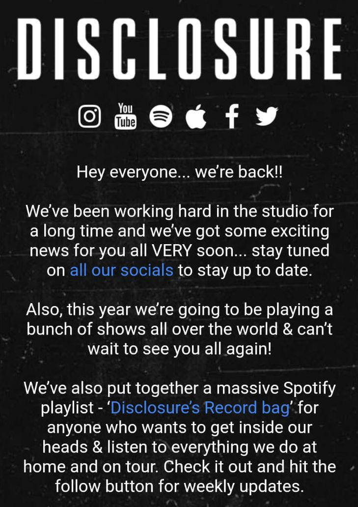 Disclosure's update email