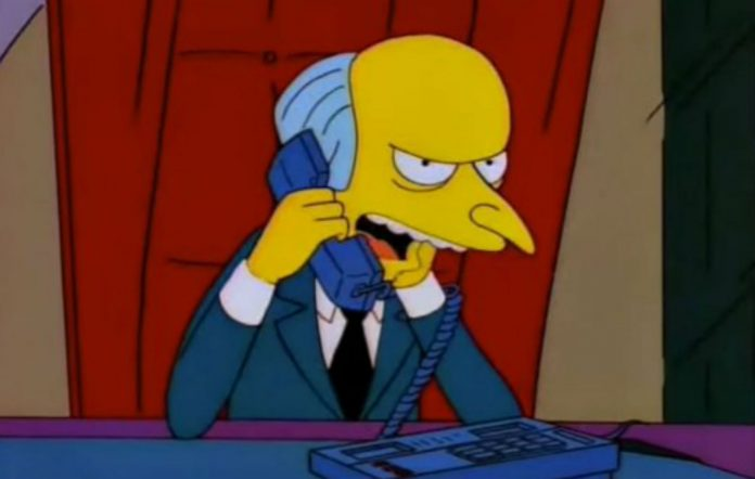 Mr Burns in 'The Simpsons'