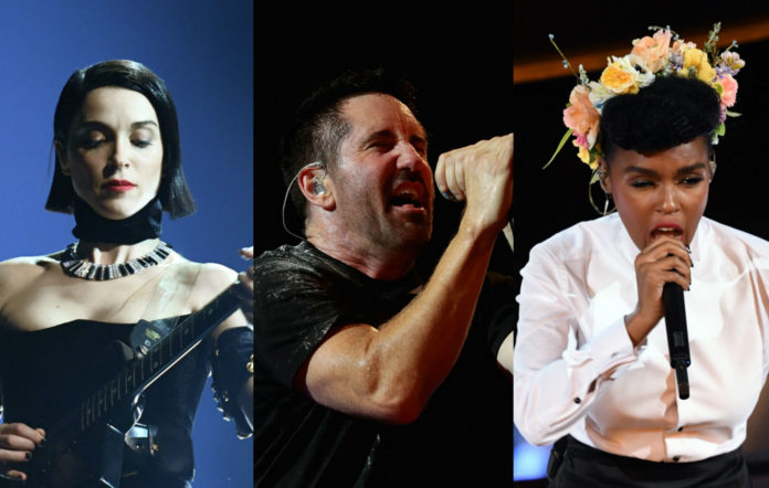 From left to right: St Vincent; Trent Reznor, and Janelle Monae