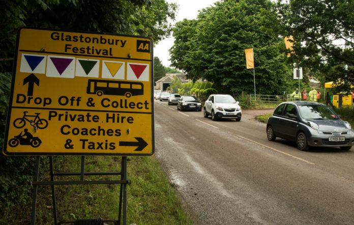 Traffic outside Glastonbury Festival