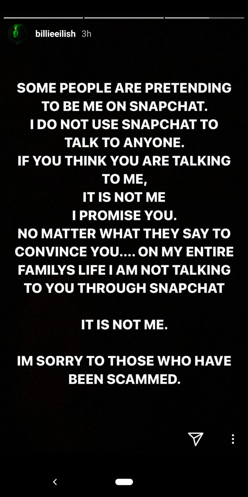 Billie Eilish Instagram story - 30 March 2020
