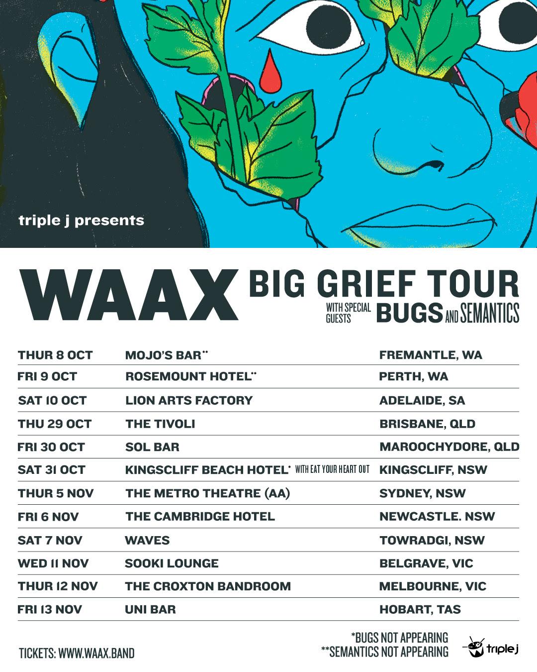 WAAX announce rescheduled Big Grief tour