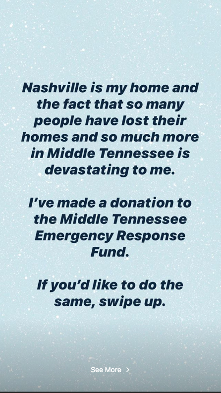 Taylor Swift donates to Middle Tennesse Emergency Response Fund