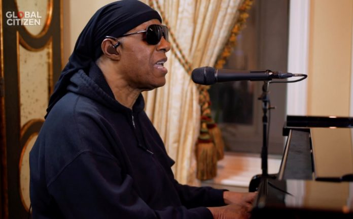 Stevie Wonder performs as part of the 'One World: Together At Home' virtual concert