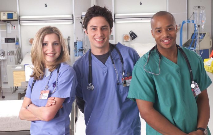 Zach Braff, Sarah Chalke and Donald Faison in Scrubs