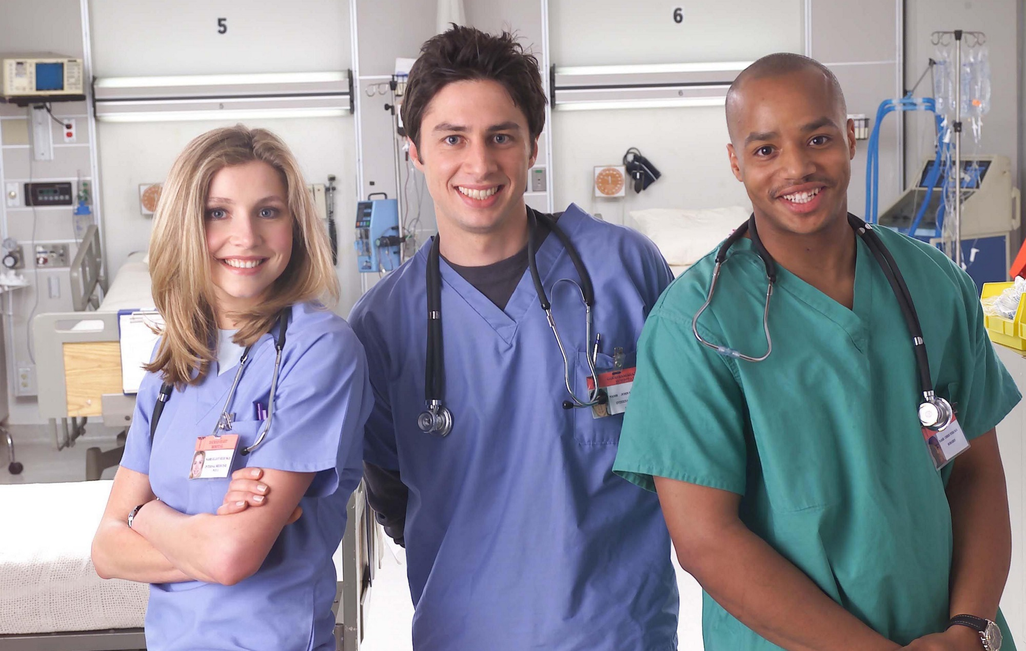 Zach Braff, Sarah Chalke and Donald Faison in Scrubs