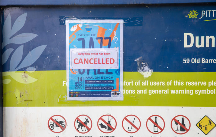 sydney music concert gig cancelled coronavirus