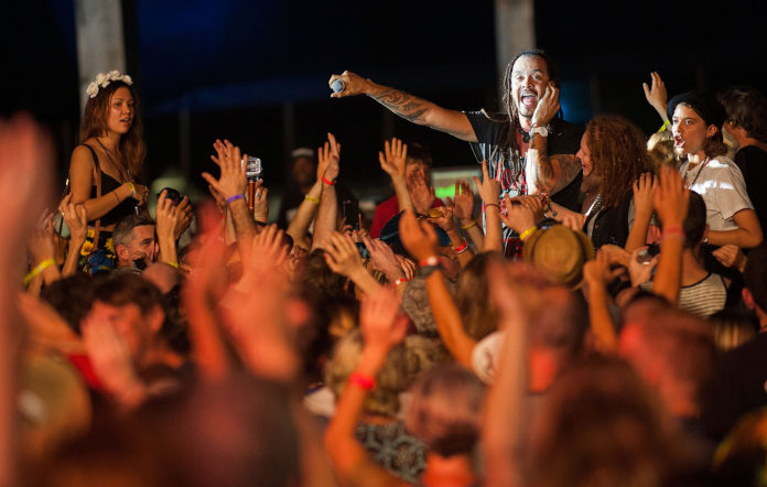 Michael Franti performs live for fans at the 2015 Bluesfest. CREDIT: Cassandra Hannagan/WireImage)