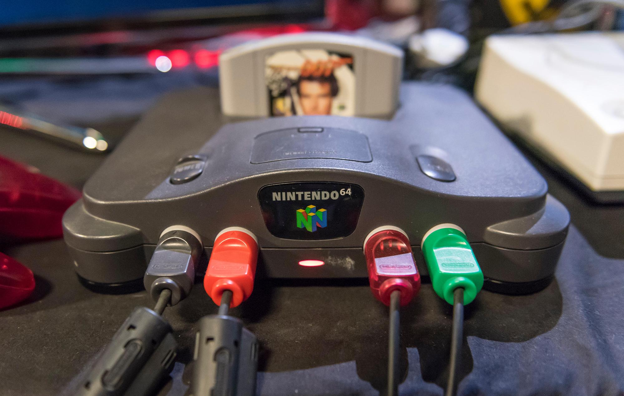 Nintendo 64 system with a goldeneye acrtridge