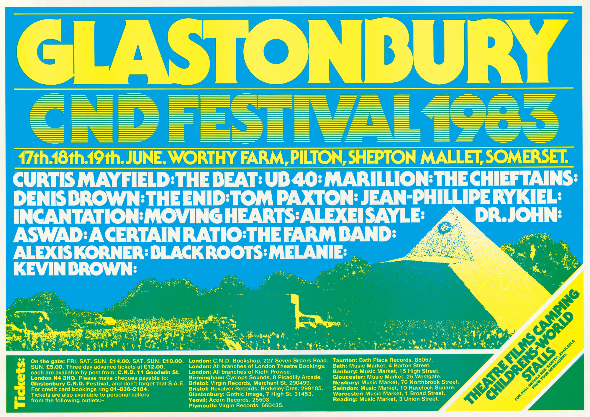 The poster for Glastonbury's 1983 edition