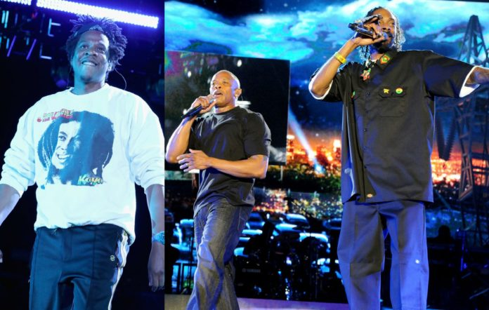 Jay-Z, Dr Dre and Snoop Dogg
