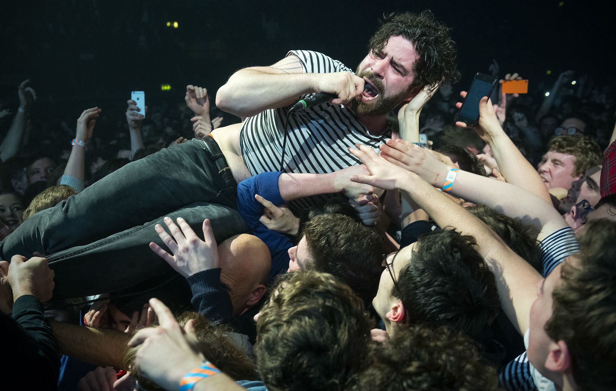 Yannis Philippakis of Foals performs at the SSE Arena, Wembley, on February 16, 2016 in London, England. (Photo by Matthew Baker/Getty Images)