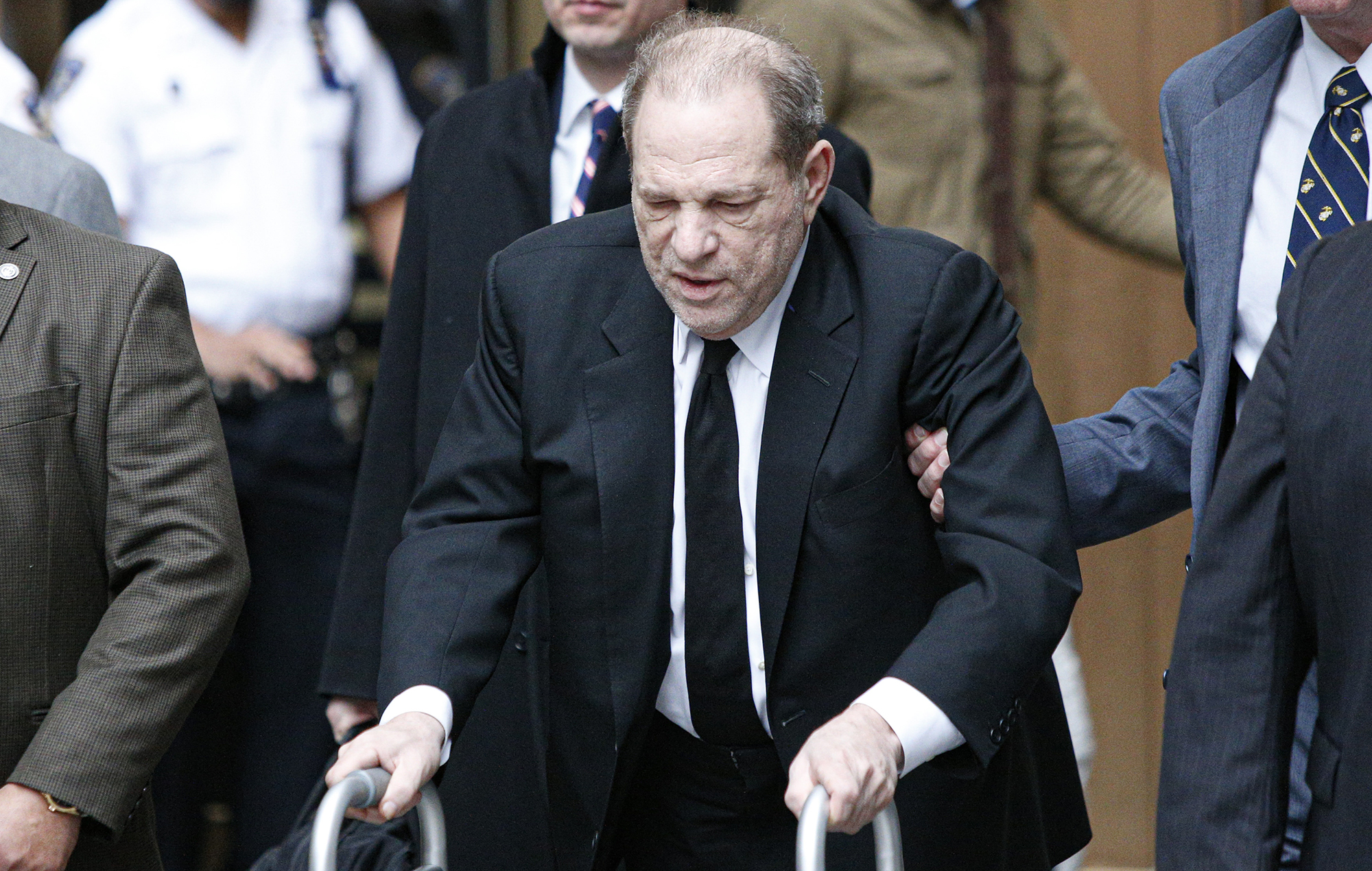 Harvey Weinstein leaves court on January 6, 2020 in New York City