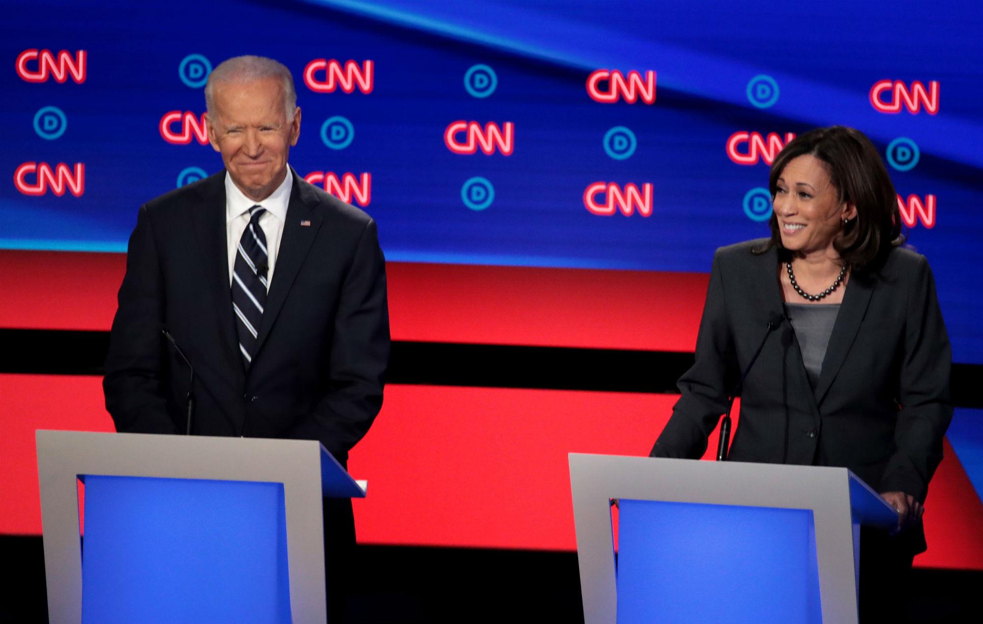 Democratic presidential candidate former Vice President Joe Biden and Sen. Kamala Harris