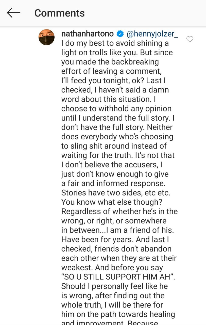 Nathan Hartono responds to Dee Kosh sexual harassment allegations