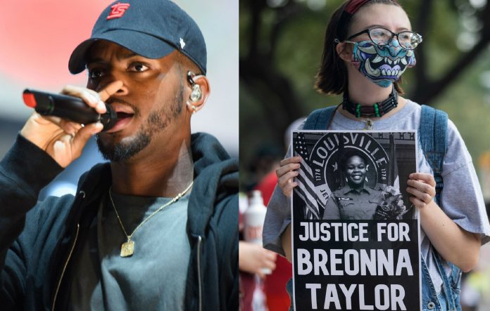 Bryson Tiller and a protester holding up a picture of Breonna Taylor
