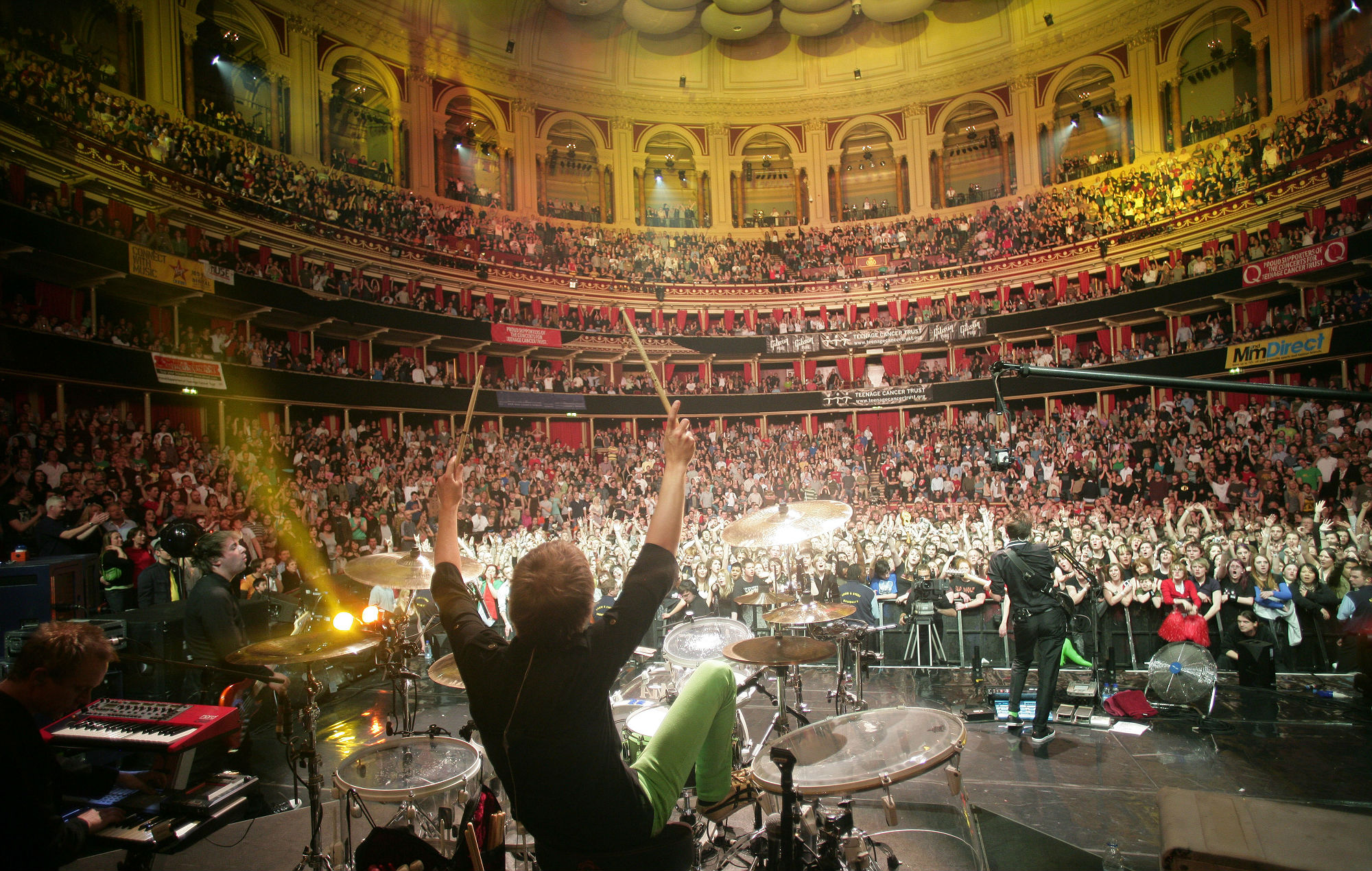 View from the back of the stage as Muse perform at the Royal Albert Hall, London, 12th April 2008. (Photo by Mick Hutson/Redferns)