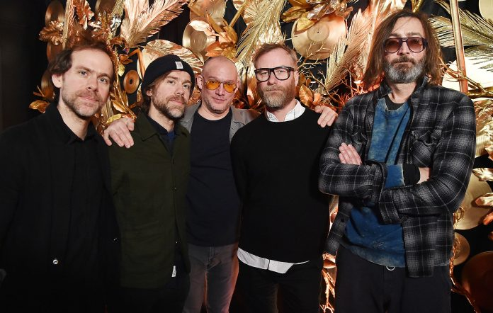 (L-R) Guitarists Bryce Dessner and Aaron Dessner, bassist Scott Devendorf, singer Matt Berninger, and drummer Bryan Devendorf of The National pose backstage during Citi Sound Vault Presents The National at Irving Plaza on January 25, 2018 in New York City. (Photo by Theo Wargo/Getty Images for Citi)
