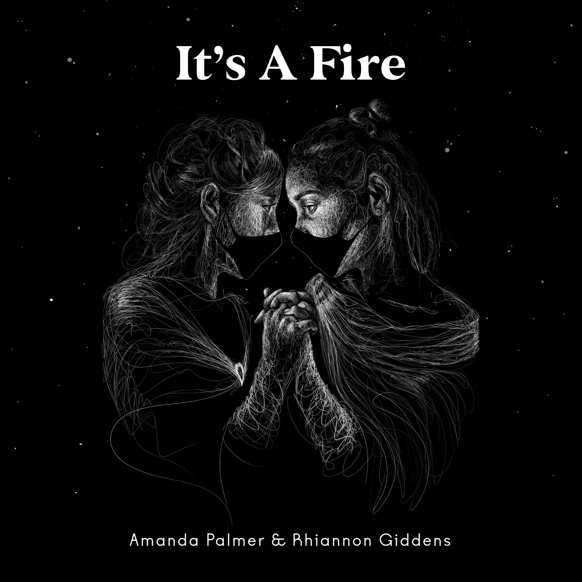 The artwork for Amanda Palmer and Rihannon Giddens' 'It's A Fire', by Jessica Coppet.