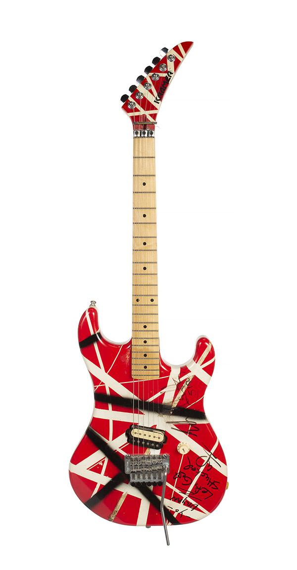 Eddie Van Halen's custom built red, white and black striped guitar