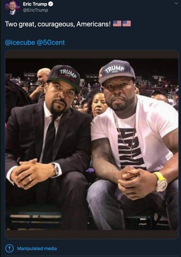 Ice Cube Eric Trump cap photoshopped tweet
