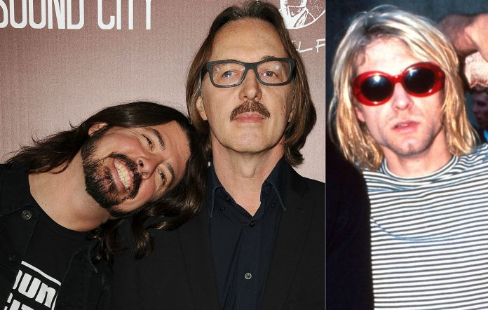Foo Fighters' Dave Grohl, producer Butch Vig and Nirvana's Kurt Cobain. Credit: Getty
