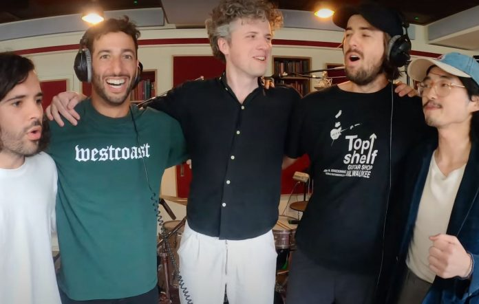 Daniel Ricciardo with Gang of Youths in the studio